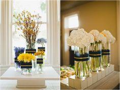 Navy and Yellow Wedding Reception decor