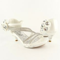 FL By KSC- -Girls Velcro Strappy Rhinestones Flower High Heels Close-Back Sandals WHITE, Size 12