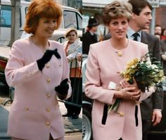 Di and Fergie in powder pink jackets with golden buttons