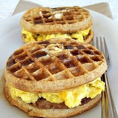 Breakfast Griddle Sandwich - Sausage Egg and Cheese Griddle Sandwich. Inspired by Paula Deen. With frozen whole wheat waffles and a homemade syrup recipe.