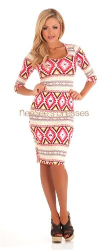 Coral & Yellow Aztec Print Pencil Dress | Affordable Modest Spring Dresses | Trendy Modest Clothing