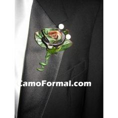 For him on his special day.  A boutonniere in camouflage!  He won't complain or squirm when you pin this on his lapel.Available in all Camo Trademarked Patterns.Made in the USA.
