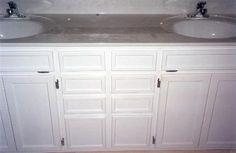 08 double bowel bathroom vanity with split doors and flip outs pixels Country Bathroom Vanities, Bathroom Vanity Designs, White Vanity Bathroom, Bathroom Vanity Cabinets, Split Door, Design Palette, Kitchen Redo, Cabinet Doors, Cupboard