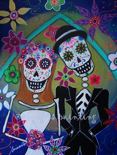 Mexican Wedding Couple Wedding Day of the Dead by prisarts on Etsy, $250.00