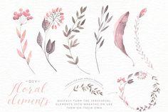 Watercolor floral edges+backgrounds - Illustrations