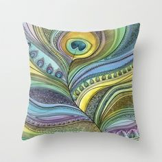 Intricate Peacock Feather (bright) Throw Pillow by Sarah Travis - $20.00 Vibrant, complex, abstract peacock feather in bright watercolour and fine black ink. In lime, khaki, turquoise, teal, sea green, lilac and purple with black outlines. Home, style, art, design, gifts, zentangle