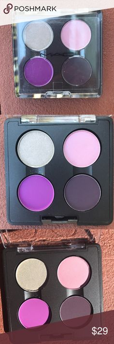 NEW MAC EYE SHADOW DIANA EYES NEW MAC EYESHADOW QUAD: DIANA EYES This set features 4 Eyeshadows, Vex (light khaki frost), Up Do (dark pink frost), Endless Love (matte FUSCIA violet) and Soul Song (matte dark violet). New, never used. Part of the Diana Ross collection. Please note: I cannot separate this quad, it is a pallet. PRICE FIRM MAC Cosmetics Makeup Eyeshadow