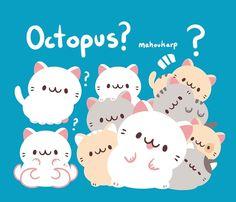 Octopus cats by Mahoukarp Cute Cartoon Drawings, Cute Animal Drawings, Kawaii Drawings, Cute Kawaii Animals, Kawaii Cute, Kawaii Stuff, Chibi Characters, Cute Characters, Cute Images