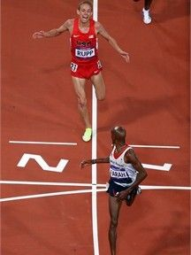 Galen Rupp - USA silver medal  Mo Farah - Great Britain gold medal  10,000 meter run - London 2012