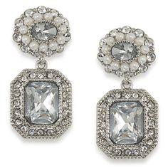 Regal Reflection Crystal Ornate Double Drop Pierced Earrings