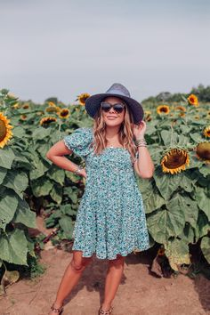 Kentucky Sunflower Field / Glitter & Gingham Leopard Sandals, Sunflower Fields, Target Style, Wide-brim Hat, Gold Hoops, Blogger Style, Warm Weather, Pink Color, Gingham