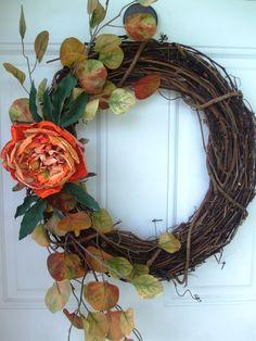 Handmade Grapevine Fall Wreath Front Door Decor Orange Pink Flower Leaves Fall #Handmade