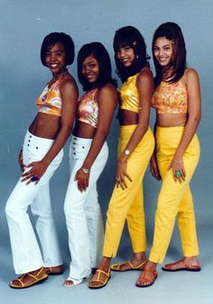 Destiny's Child wearing matching outfits (+ 90s sandals!). Babes. - beauty inspiration for GLOWLIKEAMOFO.com