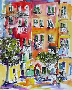 #Vernazza Facades #Cinque #Terre Travel Memories #Watercolor #Painting by #Ginette #Callaway #ginettefineart #ginettecallaway