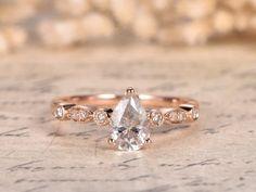 bc579ea3feba 1ct Moissanite Ring Moissanite Engagement Ring 14K Rose Gold Diamond  Wedding Band Milgrain Marquise