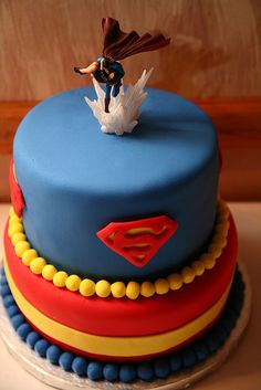 Red, Yellow and Blue ~ Cool, Superman groom's cake!