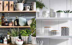 Käytä keittiössä rohkeasti avohyllyjä, joille asettelet vaikkapa yrtit, kauneimmat kahvikupit ja pienet säilytysrasiat.