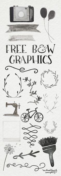 B&W Ink Digital Graphic Freebiees