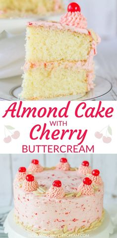 This almond cake with cherry buttercream is a super moist cake with a hint of almond flavor, then covered with a creamy, delicious cherry buttercream. #almondcake #cherrybuttercream #cakerecipe #whitecakerecipes