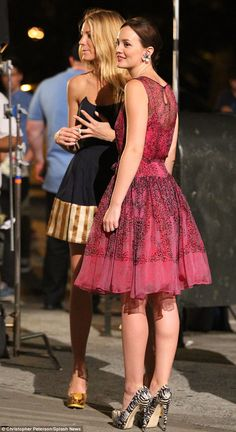 Back in costume: Leighton films with Blake Lively near Madison Square Park in New York City
