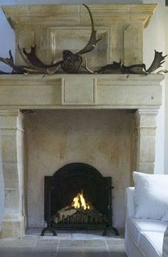 love the antlers on the mantle - Room Seventeen