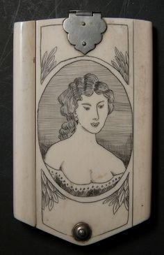 19thC French SCRIMSHAW Antique IVORY Dance Card Case AIDE D' MEMOIR Clipper SHIP