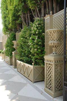Decorative treillage and accessories for home and garden. Garden Trellis, Garden Gates, Outdoor Privacy, Rooftop Garden, Garden Landscape Design, Outdoor Living, Outdoor Decor, Garden Structures, Garden Planning
