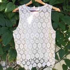 ❗️LAST CHANCE❗️Chelsea & Violet Crochet Top Chelsea & Violet Crochet Sleeveless Top. Size L but fits like a small--listed as such in description. Front of top is see through since it's crochet; you'll need a cami or bandeau underneath. Back is full material. Floral crochet pattern. 100% cotton. Excellent condition. Cute for summer! Chelsea & Violet Tops