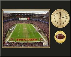 Washington Redskins Team Stadium Photo Inserted In A Gold Slide In Frame & Mounted On A Plaque With Arabic Clock