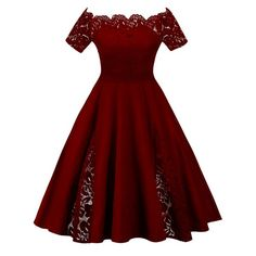 Plus Size Lace Panel Off The Shoulder Dress - Wine Red 5xl Mobile