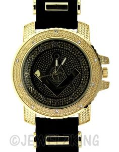 Jewelzking.com - Mens Iced Out Gold/Black Freemason Mason Masonic Bullet Band Watch #masonicwatches #goldmasonicwatch #freemason #mason #menswatch #blingwatch #Freemasonry