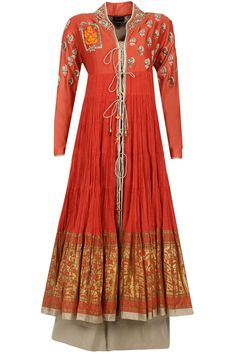ANJU MODI Coral thread and sequins embroidered kurta set Product Code - ANJC4T0614178 Price - $ 810   Description This set features a coral georgette anarkali with gold thread and sequin embroidery all over.  It has gold fabric detailing on hemline and cuff.  It comes along with matching lycra net churidaar and beige embroidered net dupatta.  COMPOSITION: Georgette, lycra net, net. Lining: Mul.