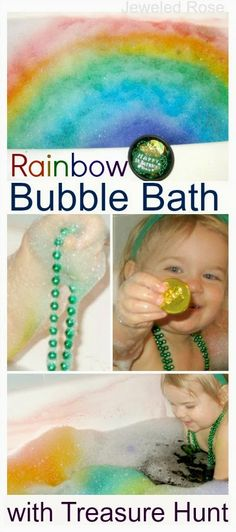 Rainbow Bubble Bath with Treasure Hunt- what kid wouldn't want to swim in a pool of rainbow bubbles?  Between that & finding the treasures this was ultimate kid fun!