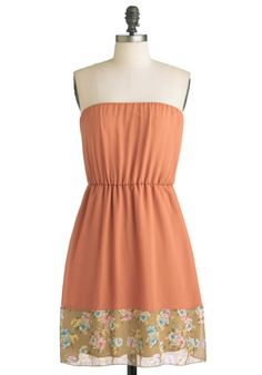 Posing with Pansies Dress - Short, Orange, Multi, Multi, Floral, Casual, Strapless, Fit & Flare