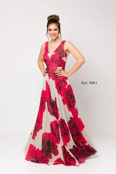 2bb27720d Vestido largo de gasa estampada en camel-rojo. 9061 Luisa Jaro Vestido  largo en