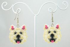 Beaded Westie West Highland Terrier Earrings