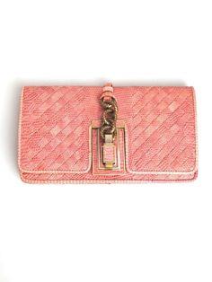 BOTTEGA VENETA Pink Woven Lizard Flap Clutch with Brass Hardware Ret $3970 178-7 #BottegaVeneta #Clutch