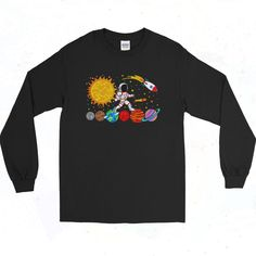 Astronaut Spaceman Vintage 90s Long Sleeve Shirt Short Models, 90s Outfit, Astronaut, Going Out, Long Sleeve Shirts, Graphic Tees, Short Sleeves, Mens Tops, T Shirt