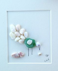 Pebble art bird Pebble art Peacock  Sea glass art home