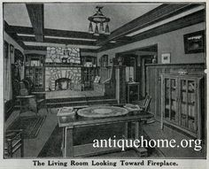 Mission Style Living Room and Inglenook. Sears Ashmore model kit home. Bungalow living room interior view with mission style furnishings, stone fireplace, built in bookcases and inglenook. See the Ashmore House Plan from the 1916 Sears kit house catalog.