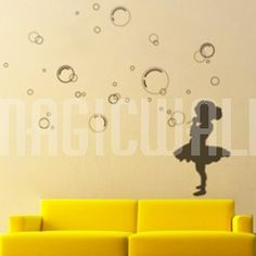 Girl Blowing Bubbles Child Wall Decor By Brithedecalguy