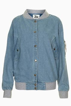 **Oversized Denim Bomber by The White Pepper - Jackets & Coats - Clothing