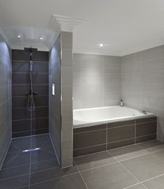 Separate Shower And Tub With Coordinating Gray Tile
