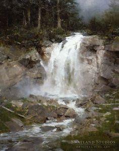 Swatland Studios : Learning from Richard Schmid, Yukon Waterfall Watercolor Landscape, Landscape Art, Landscape Paintings, Paintings I Love, Beautiful Paintings, Oil Paintings, Waterfall Paintings, Traditional Paintings, Art Oil