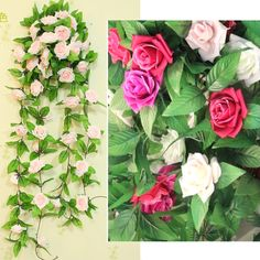 Rose Flower Garland Silk Party Wedding Deocr Artificial Ivy Vine Leaf Hanging in Home, Furniture & DIY, Home Decor, Dried & Artificial Flowers | eBay!