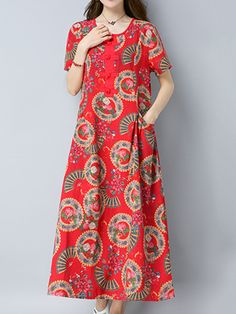 Chinese Style Vintage Printed O-Neck Short Sleeve Women Ankle Length Dresses