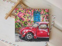Classic car decor - My list of the best classic cars Small Canvas Paintings, Small Canvas Art, Mini Canvas Art, Mini Paintings, Small Art, Acrylic Painting Canvas, Original Paintings, Vintage Canvas, Car Painting