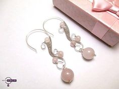 Silver earrings rose quartz free shipping by PetyaJewelry on Etsy
