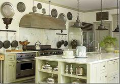 gray green cabinets, dark door + molding