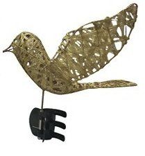 """Gold Bird Dove Shiny Glitter Wire Christmas Tree Topper 9"""" TGT"""